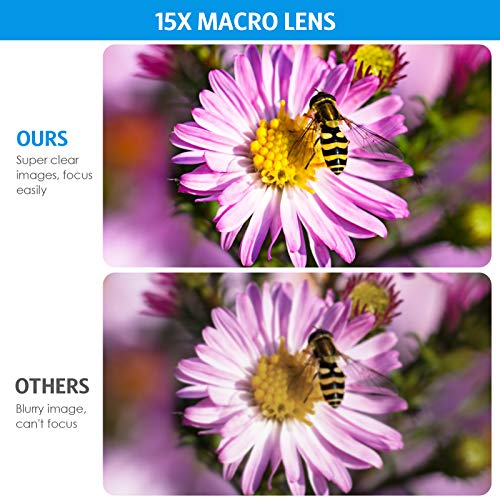 (Upgraded) Phone Camera Lens, 0.45X Super Wide Angle Lens, 15X Macro Lens, Clip-On 2 in 1 Professional for iPhone Lens Kit for Tik Tok, Vlog, Yotube, Compatible with iPhone, Samsung, Google Pixel