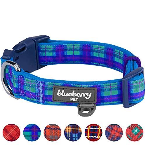 Blueberry Pet Weich & Bequem Schottisches Hudson-Blaues Karo Schottenmuster Stil Gepolstertes Designer Hundehalsband, L, Hals 45cm-66cm, Verstellbare Halsbänder für Hunde