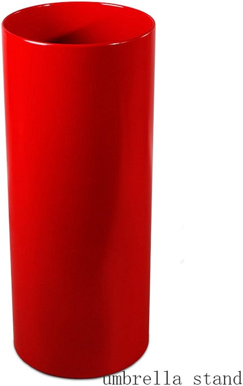 ZH1 Umbrella Stands Creative Umbrella Stand Home Office Umbrella Bucket High-Grade PVC Umbrella Storage Bucket Standing Holder for Canes Walking Stick,Round (color   Red)