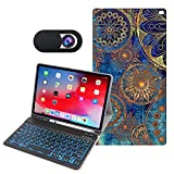 OZADE iPad 10.2 8th 7th Generation Case with Keyboard 7 Colors Backlit Detachable Keyboard Leather Folio Smart Cover Built-in Pencil Holder for iPad 10.2/iPad Air 3 10.5/iPad Pro 10.5,Golden Mandala