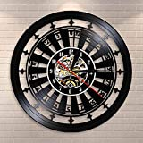 BFMBCHDJ Reloj de Pared de Casino Sala de Juego Cartel Decoración de Pared Disco de Vinilo Reloj de Pared Juego de póker de Las Vegas Juego de Naipes Ruleta Reloj Reloj