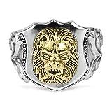 Beydodo Silber 925 Ring für Herren Schild Löwe Freundschaftsringe Ringe Männer Silber Große 57 (18.1)