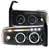 Spec-D Tuning Dual Halo Led Jet Black Projector Headlights for 1994-2001 Dodge Ram 1500 2500 3500 Head Light Assembly Left + Right Pair