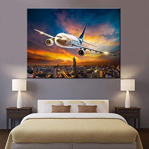 Fotobehang op canvas, 1 Steden van de schemering, groot vliegtuig, muurkunst, voor woonkamer, HD-druk, luchtvoertuigen, foto's voor thuis 60 * 90CM Con cornice