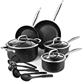 homgeek Nonstick Cookware Pots and Pans Set for Kitchen, Total Nonstick Stainless Steel Durable pans with Stay Cool Handles & Tempered Glass Lid, 13-pieces