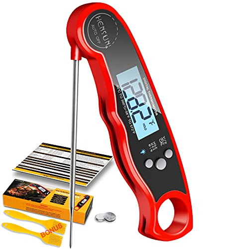 Instant Read Meat Thermometer, KOFOHO Waterproof Ultra-Fast Digital Food Thermometer, Foldable Probe Backlight and Magnet for Kitchen Cooking Bread, Beef, Liquid Oil , Smoker BBQ Grill