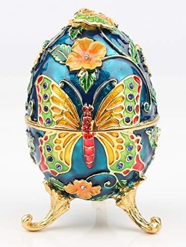 SEVENBEES Dekorative handbemalte Schmuckschatulle im Fabergé-Ei-Stil aus Emaille, mit Scharnier, für Heimdekoration