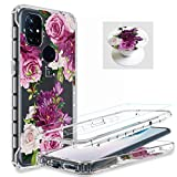 [3 Items] AMPURSQ for ONEPLUS Nord N10 5g Case with Screen Protector, Nord N10 5g Case for Women Girl Slim Shockproof Floral Design Protective Phone Case for ONEPLUS Nord N10 6.49 inch