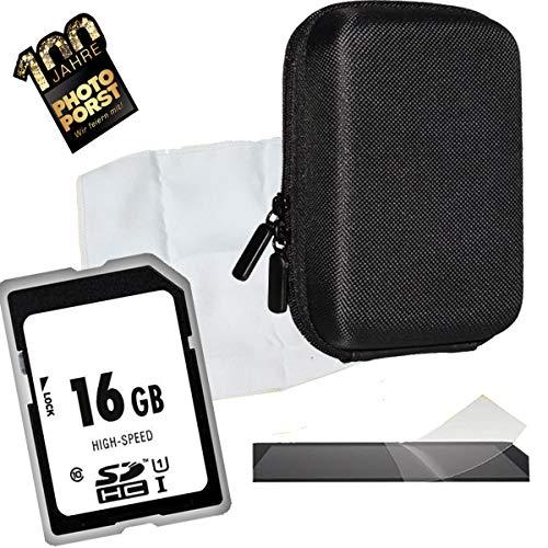 1A Photo PORST Set para Sony DSC-HX60, DSC-W810, DSC-W830, DSC-HX90: Caja de la cámara antiestática + película Protectora de Pantalla + Tarjeta SD de 16 GB + paño de Microfibra