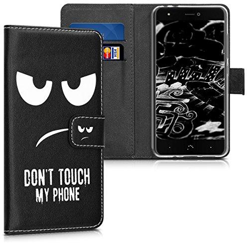 kwmobile Funda para bq Aquaris X/X Pro - Carcasa de Cuero sintético con diseño Don't Touch my Phone - Case con Tarjetero
