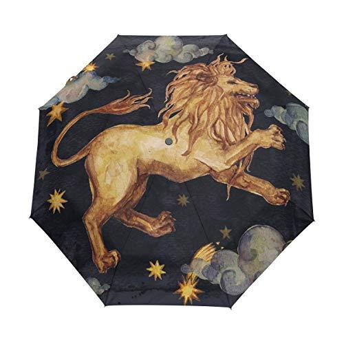 XiangHeFu Umbrella Zodiac Constellation Leo Lion Automatisches Öffnen Schließen 3-Fach Leichter UV-Schutz