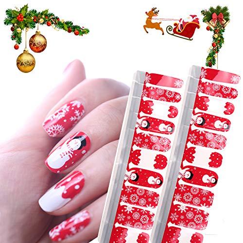 HIGH'S 20pcs Nail Polish Strips Art Polish Stickers Self-Adhesive Nail Decal Wraps for Women Girls Nail Art Designs, Red Christmas