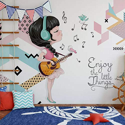 Mural Non Woven 3D Effect Wallpaper 400 * 280Cm Modern Minimalist Music Instrument Retro Guitar Self-Adhesive 3D Wall Stickers for Girls Room Wall Decal Poster Picture Holiday Gift Decoration