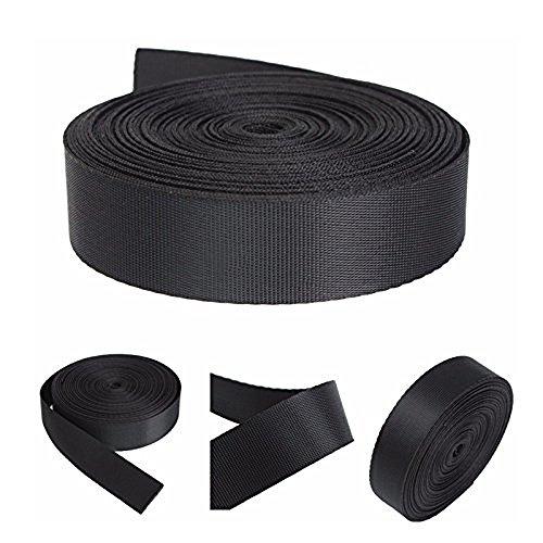 2.5 cm X 45,7 m Sangle en nylon Noir ruban adhésif multi-usage pour DIY Craft Sac à dos cerclage Tablier fanions