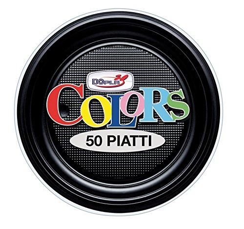 GIRM - S01698 - Piattini da Frutta di plastica Neri 50 Pezzi, Piatti monouso per Feste, Piatti di plastica monouso, Piatti Piani Colorati.