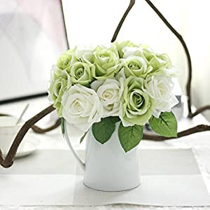 Iuhan 9 Heads Artificial Silk Fake Flowers Leaf Rose Wedding Floral Decor Bouquet