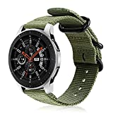 Fintie Correa Compatible con Samsung Galaxy Watch 3 (45mm)/Galaxy Watch 46mm/Gear S3 Classic/Gear S3 Frontier - Pulsera de Repuesto de Nylon Tejido Banda Ajustable, Verde Oliva