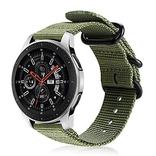 FINTIE Correa Compatible con Samsung Galaxy Watch 3 (45mm)/Galaxy Watch 46mm/Gear S3 Classic/Gear S3 Frontier - Pulsera de Repuesto de Nylon Tejido Banda Ajustable, Verde Oliva