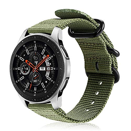 FINTIE Cinturino Compatibile con Galaxy Watch 46mm/Gear S3 Classic/Frontier/Huawei Watch GT Sport, 22 mm Morbido Tessuto di Nylon Sports Watch Band Regolabile con Fibbia Acciaio Inox, Army Green