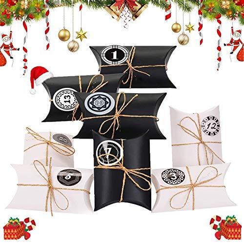 Xinmeng Adventskalender zum Befüllen, 24 Adventskalender Schachteln, Weihnachten Papiertüten, 24 Geschenkbeutel mit Zahlen Sticker, für Verzieren Weihnachts-Geschenktüte zum DIY (Schwarz weiß)