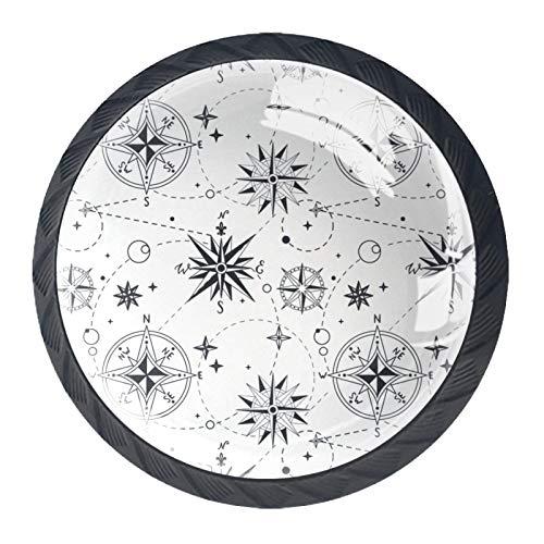 Manijas de cajón Tirador de cristal redondo para el hogar Cocina Cómoda Armario Patrón sin costuras Vintage Wind Rose