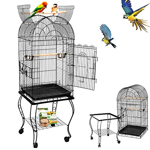 Nova Microdermabrasion 63.5 Inches Dome Bird Cage Open Top with Detachable Stand,Rolling Wheels Lovebird Cockatiel Quaker Parrot Sun Parakeet Green-Cheek Conure Cage