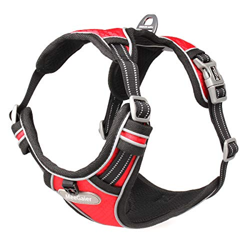 No Pull Dog Harness, Adjustable Dog Harness Reflective Working Training Breathable Soft Padded Pet Vest Easy Control Handle for Small Medium Large Dogs (M(19-25