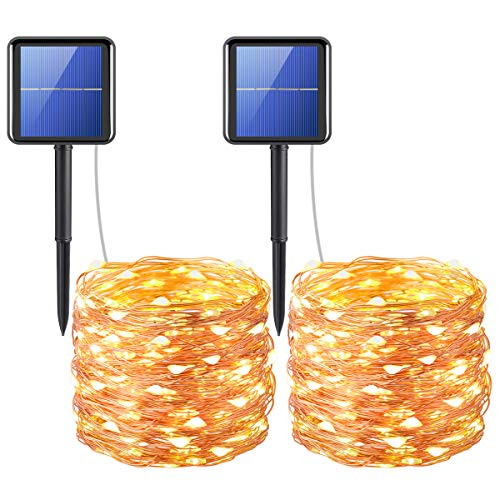 AMIR Upgraded Solar String Lights, 200 LED Copper Wire Lights, 72ft 8 Modes Starry Lights, Waterproof IP65 Fairy Christmas Decorative Lights for Outdoor, Wedding, Homes, Party (Warm White - Pack of 2)