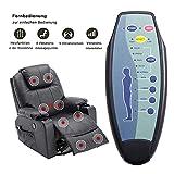 1er MCombo Rindleder Fernsehsessel Relaxsessel mit Massage und Heizung - 5