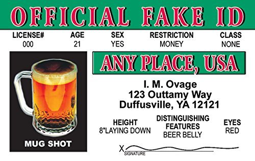 Official Fake Fun Fake ID License Card by Signs 4 Fun