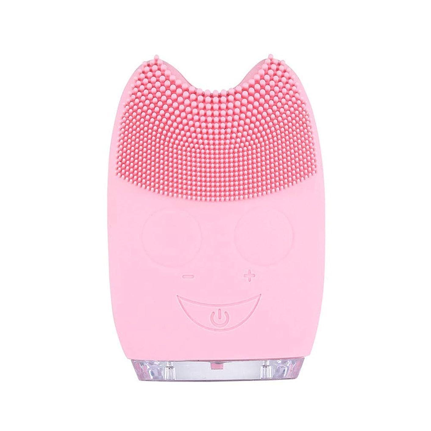 追うまっすぐオーク洗顔ブラシ ソニックフェイシャルクレンジングブラシマッサージャー充電式電気シリコーン剥離フェイススクラブブラシ ディープクレンジングスキンケア用 (色 : ピンク, サイズ : 9.8*6.4*3cm)