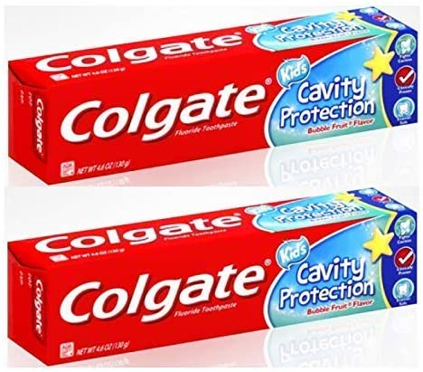 Colgate Anticavity Fluoride Kids Cavity Protection Toothpaste, Bubble Fruit Flavor 2.7 oz (Pack of 2)