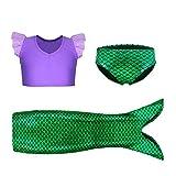 Kaylre Girls Mermaid Tail Skirt Swimwear Plicate Vest Bikini Swimming Set