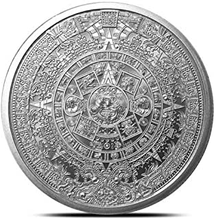 1 oz .999 Aztec Calendar Stone, Eagle Warrior Emperor of Tenochtitlan New