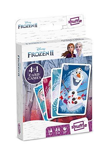 Juego de Cartas Shuffle Fun Frozen II - Baraja de Cartas con 4 Juegos de Snap, Familias, Parejas y Juego de Acción