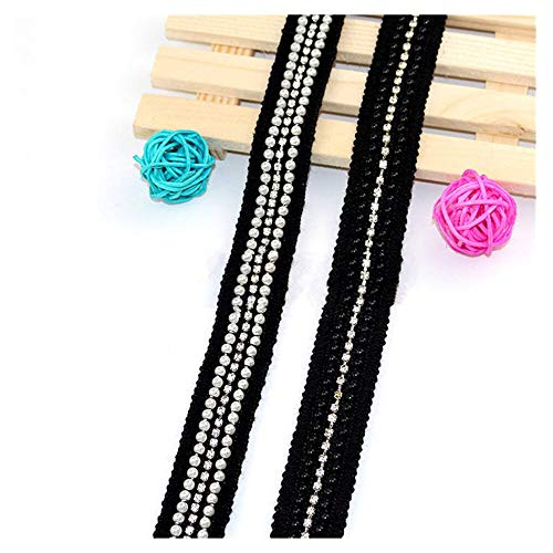 KAERMA Schwarz Imitation Perlen-Band-Spitze-Wulstige Spitze Strass Kleid-Rock-Taschen-Hut Socken Applikationen 2styles über 0.9m 1PC Wohnaccessoires