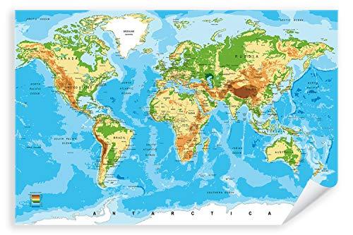 Postereck - Poster 0848 - detaillierte Weltkarte Hauptstaedte Laender Kontinente Größe DIN - A4-21.0 cm x 29.7 cm