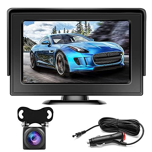 Telecamera Retromarcia Wireless Digitale, Hikity Impermeabile IP69, Visione Notturna Telecamera Retromarcia Auto con Monitor LCD Senza Fili