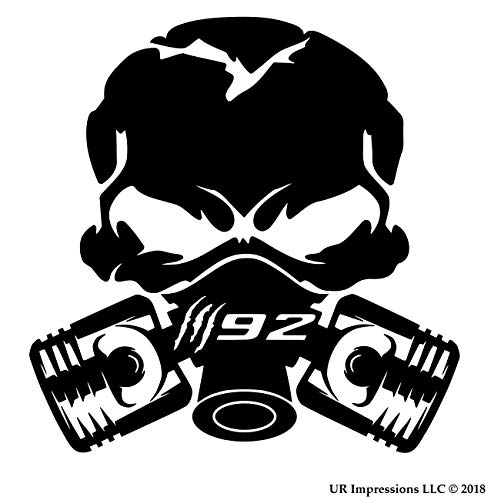 UR Impressions Claw Marks 392 Piston Gas Mask Skull Aufkleber Vinyl Sticker Grafik für Auto LKW SUV Vans Walls Fenster Laptop Schwarz schwarz