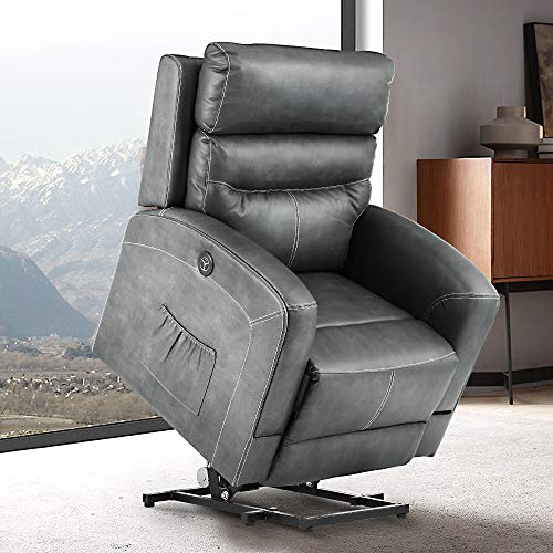 eclife Massage Electric Power Lift Recliner Chair with Lumbar Heating, Ergonomic Lounge Chair, Reclining Sofa for Living Room, Side Pocket, USB Ports & Remote Control (Power Lift, Grey+PU)