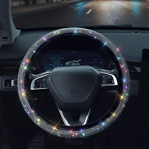 "Shering Bling Rhinestones Steering Wheel Cover with Crystal Diamond Sparkling Car SUV Breathable Anti-Slip Steering Wheel Protector for Women ,Party,Birthday Gift((Fit 14.2""-15.3"" Inch))"