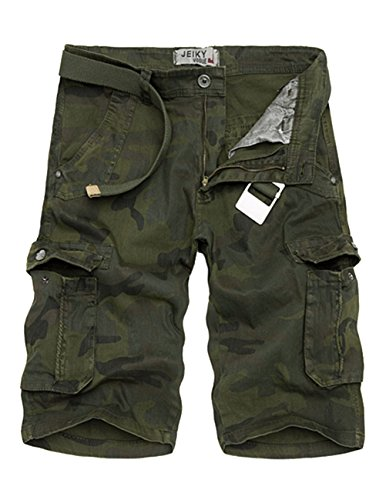 Menschwear Mens Cotton Cargo Shorts Multi Pockets Relaxed Fit with Belt (34,Camouflage 7)