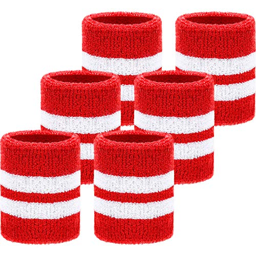 WILLBOND 6 Pieces Wrist Sweatbands Sports Wristbands for Football Basketball, Running Athletic Sports (Red with White Stripe)