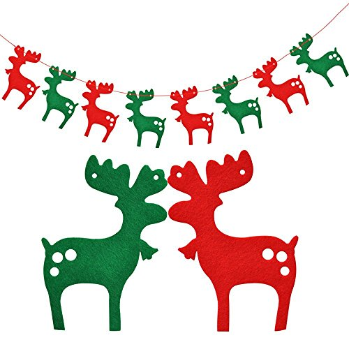 Keersi 2.5M 8 Flags Merry Christmas Reindeer Hanging Bunting Banner Garlands for Xmas Party Ornaments DIY Home Hotel Yard Wall Decoration 1 Set