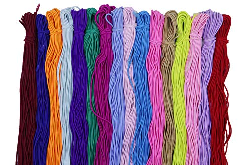 YYCRAFT 30 Yards Heavy Round String Hair Elastic Cord For Mask String(3mm,Mix Color)