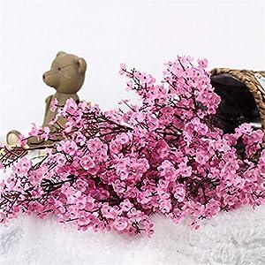 Silk Flower Arrangements Cherry Blossoms Artificial Flowers Baby's Breath Gypsophila Fake Flowers DIY Wedding Decoration Home Bouquet Faux Flowers Branch Pink