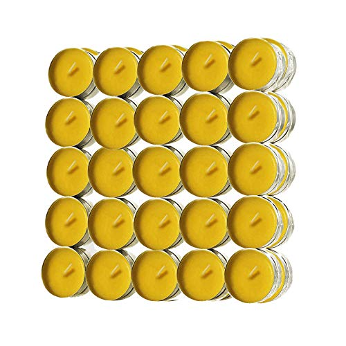 Citronella Tea Lights Candles 50pcs, Natural Citronella Essential Oil and Natural Soy Wax, 4 Hour Burning Without Smock