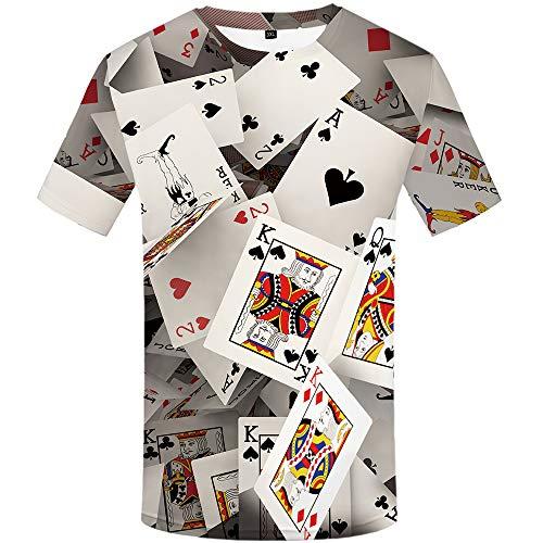 KYKU Funny Poker T Shirt Unisex Casual 3D Print Short Sleeve T-Shirt Tees (X-Large)