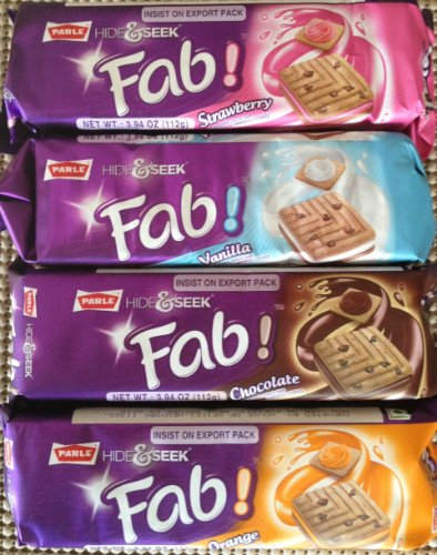 Variety Pack: Parle Hide & Seek Fab! Choco Chip ONE Pack Each of 112g,Strawberry