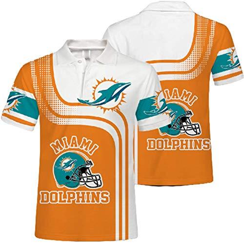 SryWj NFL-Trikot, Miami Dolphin T-Shirt, Team-Unterstützer, sommerlich atmungsaktive 3D-Bedruckte Kurze Ärmel, Herren- und Damen-Poloshirts